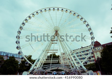 view of Sziget Eye, the Budapest's ferris wheel at the Erzsebet Ter (Elisabeth Square) - stock photo
