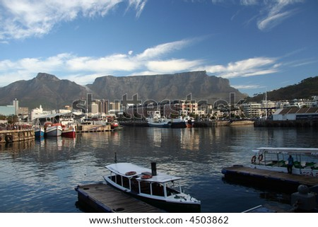 View of Table Mountain from the Victoria and Albert Waterfront - Cape Town, South Africa