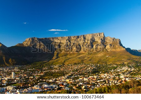 View of Table Mountain with city (Cape Town, South Africa) - stock photo