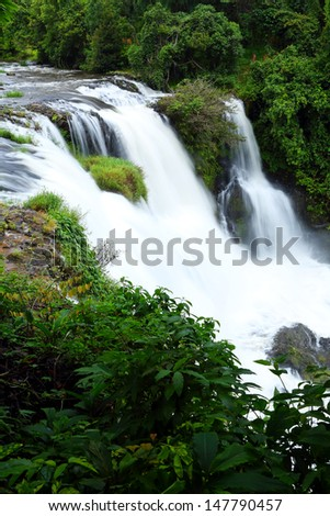 View of Tad Yueng waterfall with during the rainy season in Champasak province, Southern Laos