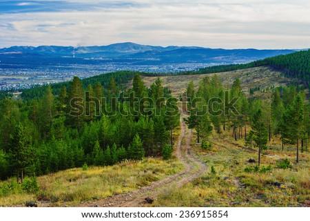 View of taiga near the Ulan-Ude city. Russia. - stock photo