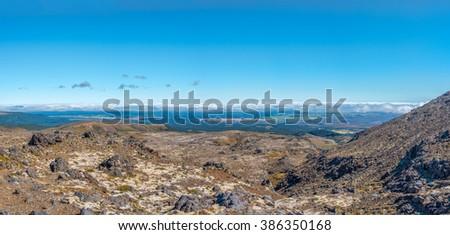 View of Tangariro Park in New Zealand - stock photo