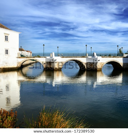 View of Tavira city, Portugal Old bridge