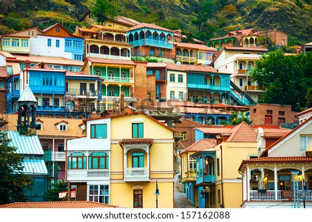 View of Tbilisi Old town Sololaki - stock photo