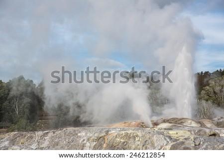 View of Te Puia geyser in Rotorua, New Zealand. - stock photo