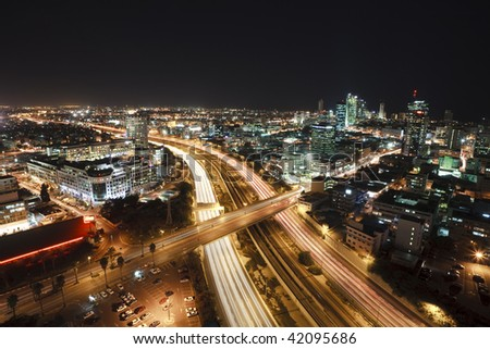 View of Tel Aviv at night.