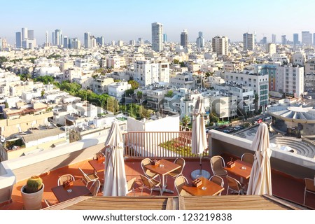 View of Tel-Aviv city from  roof cafe (Israel) - stock photo