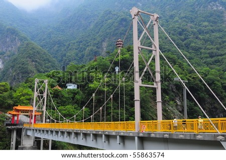 View of temple in Taroko national park, Taiwan - stock photo