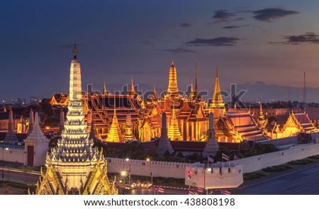 View of Temple of the Emerald Buddha in Bangkok, Thailand. Wat Phra Kaew is one of the most popular tourists destination in Thailand. - stock photo