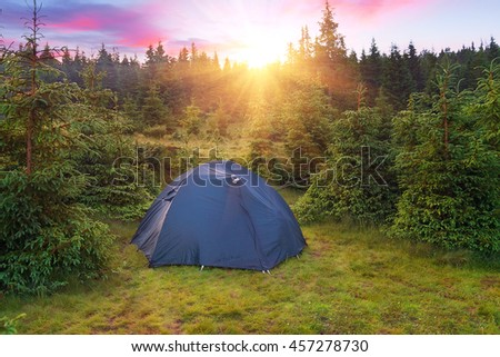 View of tent in forest at sunset or sunrise. Camping background.Tourist tent in green pine forest with sunbeams at campsite. Adventure travel active lifestyle freedom outdoors. - stock photo