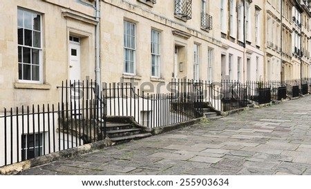 View of Terraced Georgian Era English Town Houses - stock photo