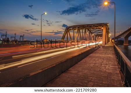 View of Thai river bridge, Bangkok Thailand. - stock photo
