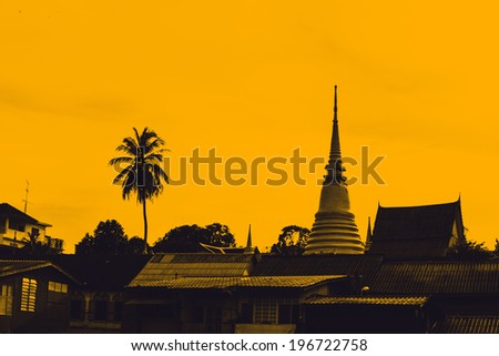 View of thai temple in rural of Thailand - stock photo