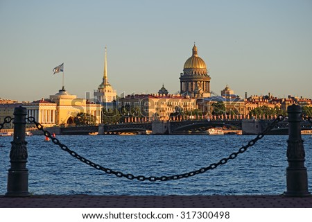 View of the Admiralty and St. Isaac's Cathedral with the hare island in St. Petersburg on a Sunny summer day, closeup - stock photo