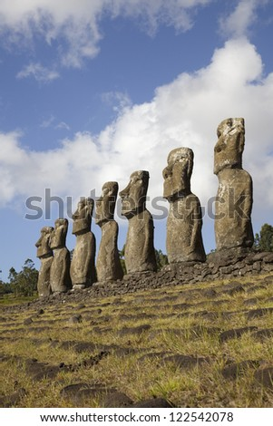 View of the Ahu Akivi Moai, which are the only Moai to face the sea, Rapa Nui, Easter Island, Chile. - stock photo