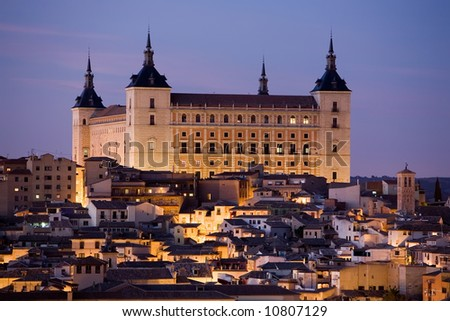 View of the Alcazar in Toledo, Spain at dusk.