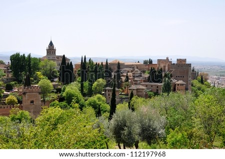 View of the Alhambra in Spain 1 - stock photo