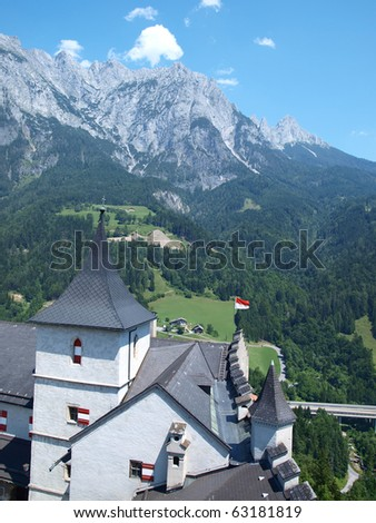 view of the alpine countryside from the tower of a medieval castle in Austria Hohenwerfen