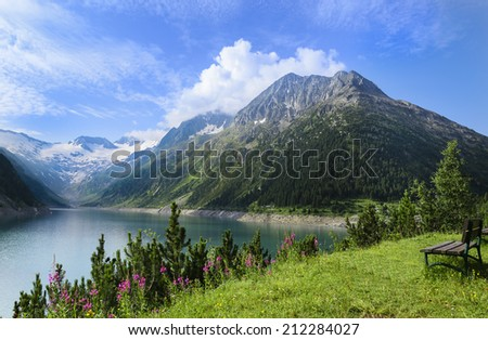 View of the alpine lake Schlegeis in the valley Zillertal, Austrian Alps