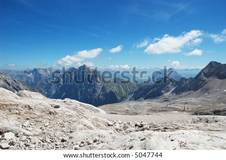 View of the alps from the Zugspitze in Germany