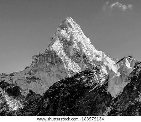 View of the Ama Dablam (6814 m) from Kala Patthar slope - Everest region, Nepal, Himalayas (black and white) - stock photo
