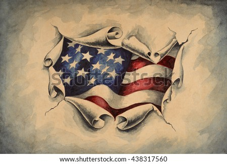 View of the American flag through the big breakthrough in the paper. Watercolor illustration.