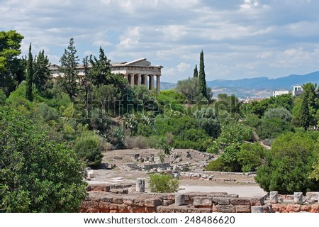 View of the Ancient Agora and the Temple of Hephaestus on top of the Agoraios Kolonos hill in Athens, Greece - stock photo