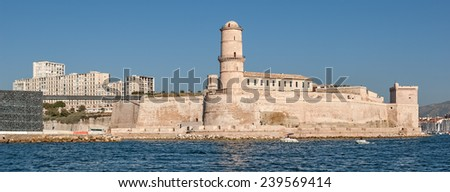 """View of the ancient castle """"Saint Jean"""" of Marseille in South France - stock photo"""