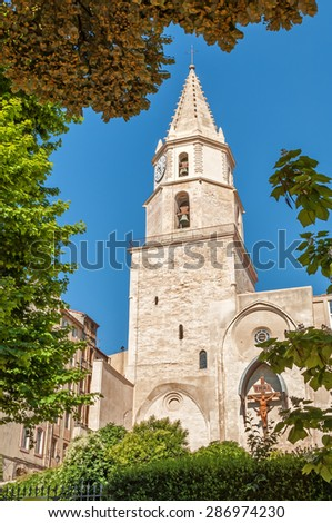 View of the ancient church at Montee des Accoules of Marseille in South France - stock photo