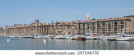 """View of the ancient harbor """"Vieux Port"""" of Marseille in South France - stock photo"""
