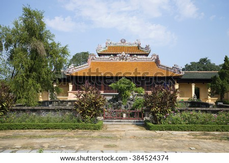 View of the ancient imperial ritual pavilion Thai Binh in the Forbidden Purple City. Hue, Vietnam
