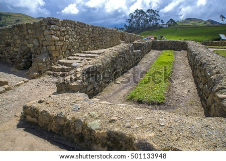 View of the ancient Inca ruins of Ingapirca, Ecuador, on an overcast day