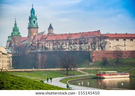 View of the ancient Krakow's castle. Wawel Castle and Wistula . Krakow Poland. - stock photo