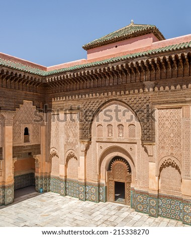 """View of the ancient monastery """"Ben Youssef"""" of Marrakech in Marocco - stock photo"""