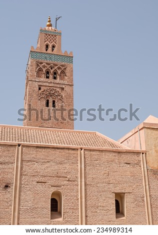 """View of the ancient mosque """"Koutoubia"""" of Marrakech in Morocco  - stock photo"""