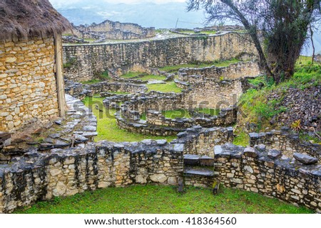 View of the ancient ruins of Kuelap, Peru - stock photo