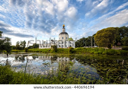 View of the ancient temple in Vyazma, Russia. Standing at the pond.