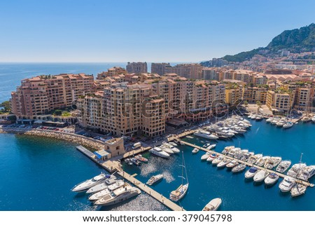 View of the apartment blocks and the harbour in Monte Carlo in France