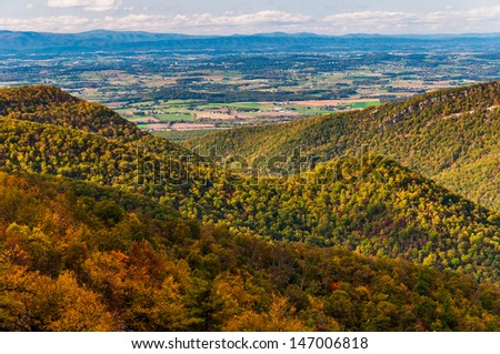 View of the Appalachian Mountains and Shenandoah Valley from Blackrock Summit, along the Appalachian Trail in Shenandoah National Park, Virginia. - stock photo
