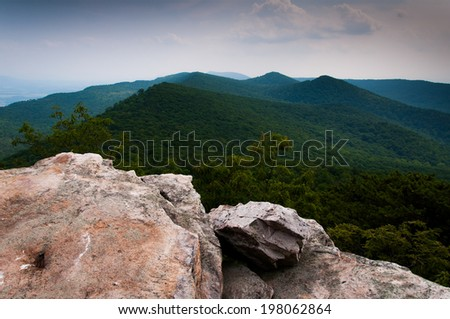View of the Appalachian Mountains from Duncan Knob, George Washington National Forest, Virginia. - stock photo