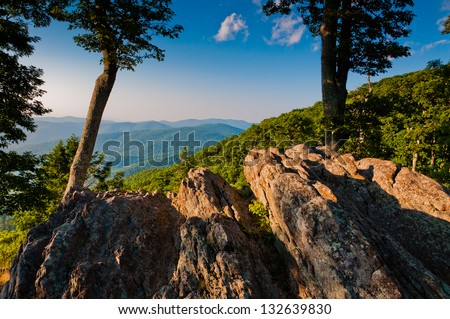 View of the Appalachian Mountains from Jewell Hollow Overlook, on Skyline Drive in Shenandoah National Park, Virginia - stock photo