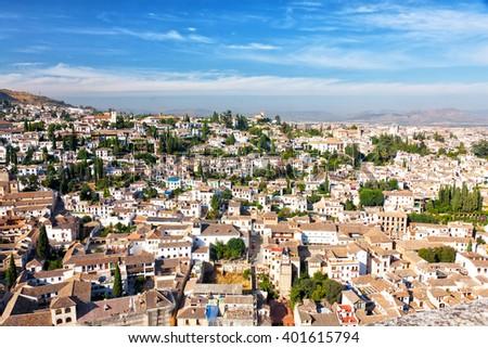 View of the Arab quarter at sunrise, Granada, Spain - stock photo