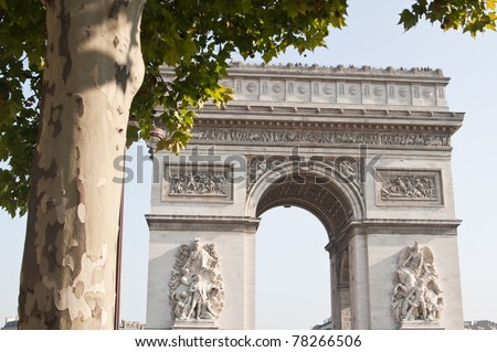 view of the Arc de Triomphe in Paris, France. - stock photo