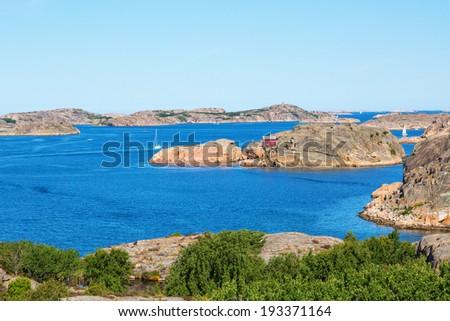 View of the archipelago on the Swedish west coast - stock photo