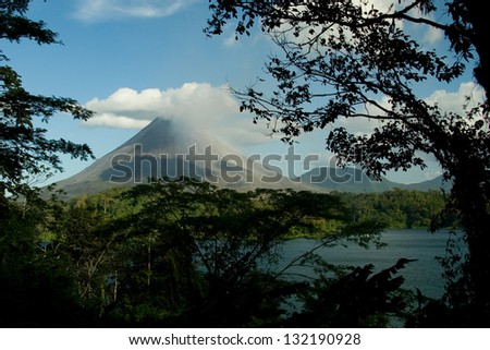 View of the Arenal volcano in Costa Rica - stock photo