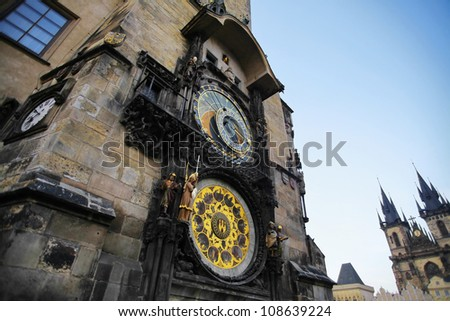 View of the astronomical clock tower in Prague, Czech Republic. - stock photo