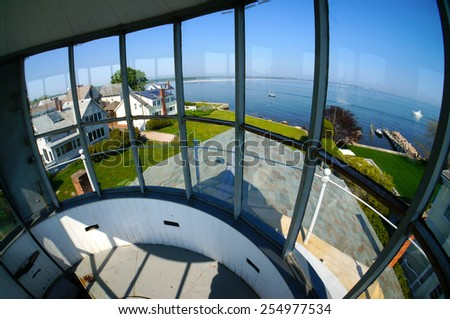 View of the Atlantic Ocean and entrance to Stonington Harbor from the Stonington Historical Old Lighthouse in Connecticut, USA - stock photo