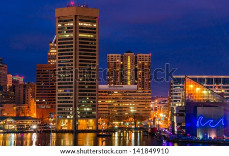 View of the Baltimore Inner Harbor and skyline during twilight from Federal Hill. - stock photo