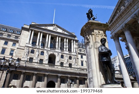 View of the Bank of England, City of London War Memorial and the Royal Exchange. - stock photo