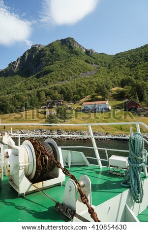 View of the bank of lysefjord from the ferry, Norway - stock photo